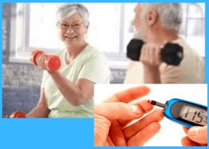 dois idosos fazendo musculação e um medidor de diabetes