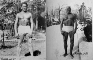Fotos de Joseph Pilates jovem e idoso