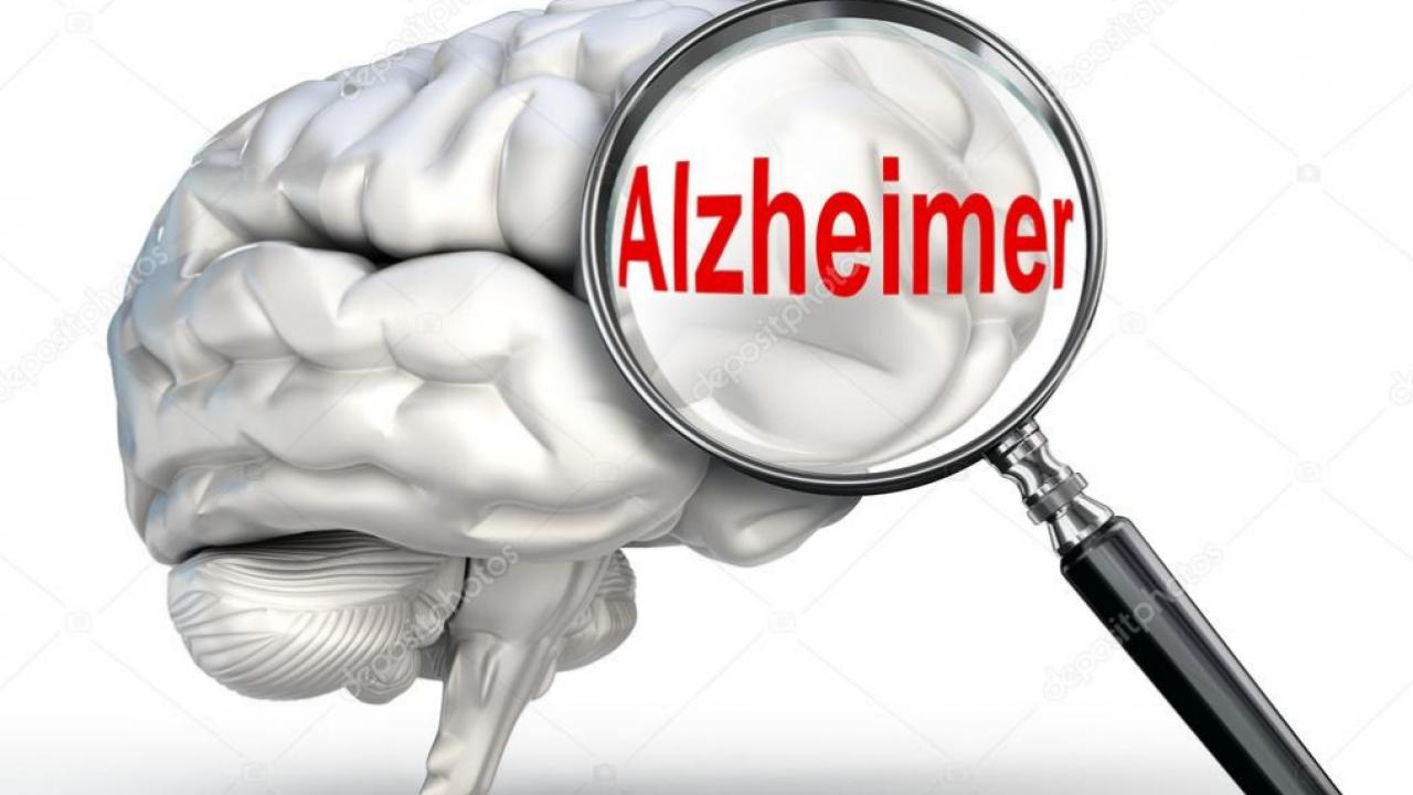 imagem de um cérebro com uma lupa na palavra Alzheimer